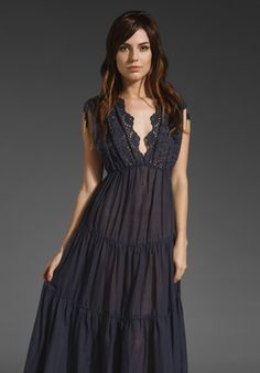 ZIMMERMANN Dreamer Embroidered Maxi Dress in Navy at Revolve Clothing - Free Shipping!