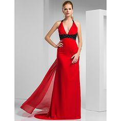 vestido de noche de gasa tren de barrido cabestro vaina / columna / cepillo / prom – USD $ 179.99
