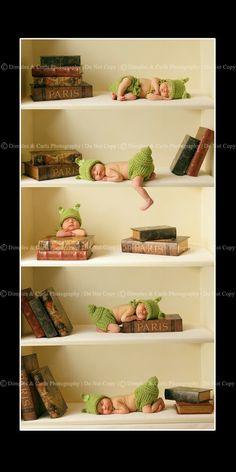 Idea for newborn pics, so cute.