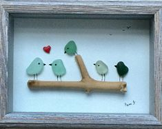 Genuine Sea Glass Framed Artwork Sea Glass Picture Bird Picture