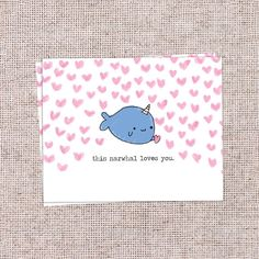 Cute This Narwhal Loves you Gift Card in a plain matte finish. Comes with 1 Card and 1 White Envelope. Dimensions: Card 107 mm x 139 mm  This item is