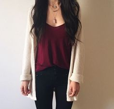Burgundy outfit - Flawless Women's Cardigan Spring Summer Outfits – Burgundy outfit Trendy Outfits, Cute Outfits, Fashion Outfits, Womens Fashion, Fashion 2016, Fashion Tips, Fashion Trends, Mode Style, Style Me