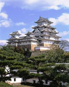Himeji Castle (姫路城, Himeji-jō) is a hilltop Japanese castle complex located in Himeji, in the Hyōgo Prefecture. The castle is regarded as the finest surviving example of prototypical Japanese castle architecture, comprising a network of 83 buildings with advanced defensive systems from the feudal period.