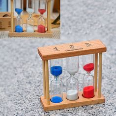 1/3/5Min Wooden Frame Hourglass Glass Sand Sandglass Timer Clock Time Decor Gift