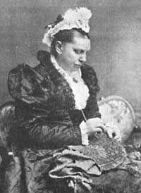 Elizabeth Wardle doing Needlework