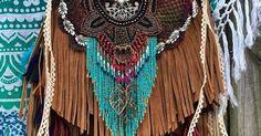 Handmade Tan Leather Fringe Bag Hobo Boho Hippie Gypsy OOAK Tribal Purse B.Joy