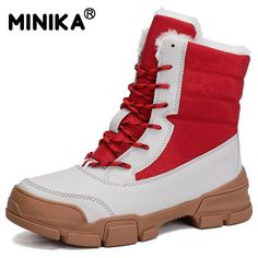 Suede Leather Women Snow Boots Winter Warm Plush Krasovki Ankle Women's Boots High Top Waterproof Ankle Wedge Boots Flat Shoes Shoe Size Color - Flat Shoes Snow Boots Women, Winter Snow Boots, Wedge Ankle Boots, Mid Calf Boots, Hiking Shoes, Running Shoes, Casual Boots, Types Of Shoes, Fashion Boots