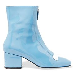 DORATEYMUR Double Delta patent-leather ankle boots ($500) ❤ liked on Polyvore featuring shoes, boots, ankle booties, scarp, light blue, mid heel ankle boots, zip ankle boots, patent ankle boots, block heel bootie and zipper boots