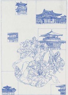 Intricate blue line illustration Art Et Illustration, Illustrations, Sketchbook Inspiration, Art Sketchbook, Art Sketches, Art Drawings, Graphisches Design, Plakat Design, Aesthetic Art