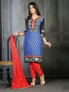 Purple And Light Blue Cotton Suit With Embroidery And Print Work www.saree.com