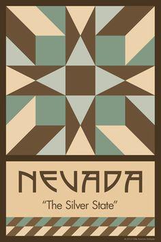 Olde America Antiques | Quilt Blocks | National Parks | Bozeman Montana : 50 STATE QUILT BLOCK SERIES - NEVADA