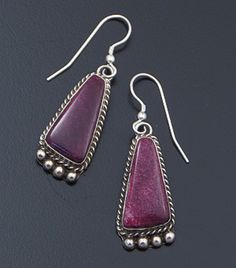 Navajo - Triangular Purple Spiny Oyster Shell & Satin Finished Sterling Silver Dangle Earrings #42280 $85.00