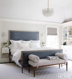 Grey and blue in the bedroom... guest room
