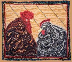 Cock and Hen: Lewis Creed rag rug