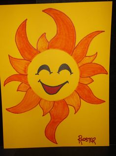 Drawing: Sun Face No4 by Rodster - ink pn card stock