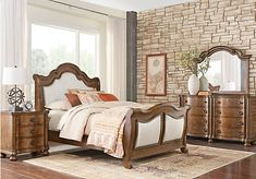 Handly Manor Pecan 5 Pc King Panel Bedroom | Dark wood, King bedroom ...