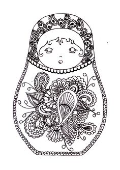 Free coloring page coloring-russian-dolls-2.