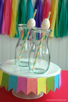 Glitter egg straw toppers for Easter using styrofoam mini eggs from Dollar Tree  (Handcrafted Parties)
