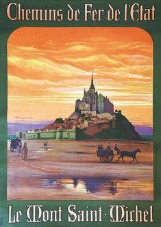 Vintage Travel Posters, Vintage Ads, Le Mont St Michel, Airline Logo, Tourism Poster, Art Template, Travel Memories, Retro, Art Deco Fashion