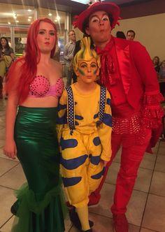 Aerial Flounder Sebastian - Little Mermaid costume and makeup design Little Mermaid Makeup, The Little Mermaid Musical, Little Mermaid Play, Little Mermaid Costumes, Mermaid Halloween Costumes, Halloween Fairy, Halloween Costumes For Teens, Family Costumes, Flounder Costume
