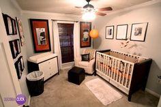 Uma ótima ideia para personalizar o quarto do seu bebê é colocar fotos em quadros, como neste ambiente. Ficou simples, moderno e lindo!