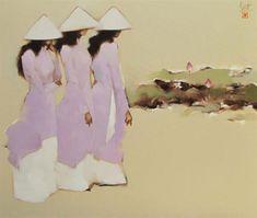 Schoolgirls with lotus  by Vietnamese Artist Nguyen Thanh Binh