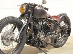 """This Harley Davidson Custom bike was built by Garage Company in California for one David Beckham. The """"old unfinished look"""" paint was NOT done done by Zero Engineering as reported elsewhere. Harley Davidson Custom Bike, Harley Davidson Helmets, Harley Davidson Knucklehead, Classic Harley Davidson, Harley Davidson Motorcycles, Hd Motorcycles, Vintage Motorcycles, Bobber Motorcycle, Bobber Chopper"""