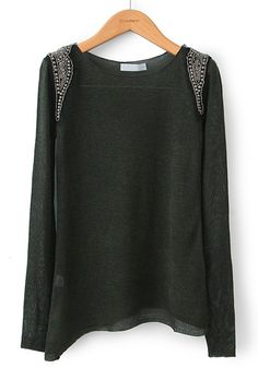 Black Beading Embroidery Irregular Thin Cotton Blend Sweater