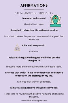 Positive Affirmations to Calm Anxious Thoughts and Restless mind