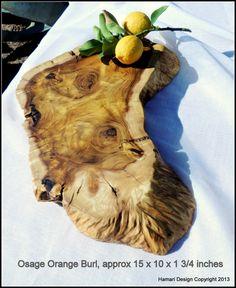 Natural Osage Orange Burl Wood Cutting Board or Serving Platter, live edge log slab