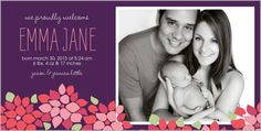Plum Floral Girl 4x8 Photo Card by Yours Truly | Shutterfly