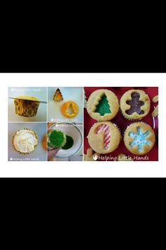 different look for cupcakes. could do any cutter, not just for Christmas