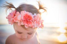 peach flower crown / big flower crown / flower girl / trendy / boho chic / fashion / baby flower crown / hippie chic / coral / flowergirl