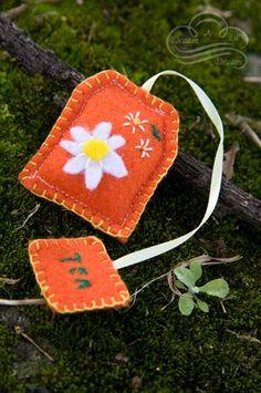 chamomile  tea bag on moss