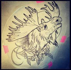 Moose Decor, Moose Art, Time Tattoos, Sleeve Tattoos, Wilderness Tattoo, Moose Tattoo, Baby Animal Drawings, Leather Working Patterns, Arm Art