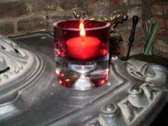 The Garden Room - Danish Heavy Red Glass T-lite,Light Holder, �6.99 (http://www.the-gardenroom.co.uk/danish-heavy-red-glass-t-lite-light-holder/)