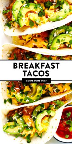 LOVE this easy breakfast tacos recipe! This base recipe simply calls for my favorite homemade refried beans, scrambled (or fried) eggs, avocado, salsa and any other toppings that sound good. Easy to m Mexican Breakfast Recipes, Breakfast Tacos, Mexican Food Recipes, Breakfast Meals, Brunch Recipes, Homemade Refried Beans, Frijoles Refritos, Gimme Some Oven, Lunch Menu