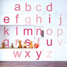 Ombre Alphabet Fuschia Wall Decals