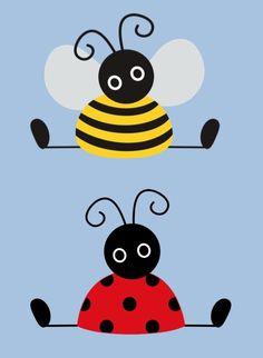 KLASSENKUNST: Türdekoration Biene & Marienkäfer