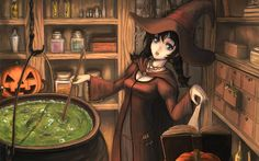 Halloween books hats anime girls pumpkins potion witches tiaras  / 1920x1200 Wallpaper