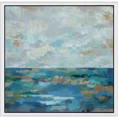 Silvia Vassileva 'Seascape Sketches I' Framed Canvas Art | Overstock™ Shopping - Top Rated Canvas