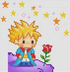 Point de croix Le petit prince Cross stitch The little Prince Cross Stitch Baby, Cross Stitch Charts, Cross Stitch Designs, Cross Stitch Patterns, Cross Stitching, Cross Stitch Embroidery, Hand Embroidery, Pixel Art, Beading Patterns