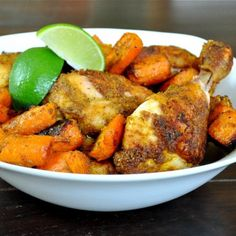 Curried Chicken Drumsticks....so easy and very good. I added honey gold potatoes and used major grey chutney for garnish.