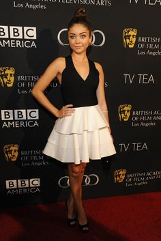 Sarah Hyland in Robert Rodriguez at the BAFTA party. [Photo by Amy Graves]