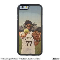 Softball Player Catcher With Your Name And Number Carved® Maple iPhone 6 Bumper
