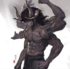 Ascalon (Ascendant Demon in adult form) Oni Demon, Demon Art, Dnd Characters, Fantasy Characters, Fantasy Creatures, Mythical Creatures, Character Concept, Character Art, Ronin Samurai