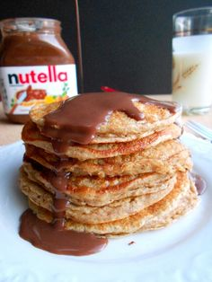 Overnight Oatmeal Cinnamon Pancakes with Nutella Syrup