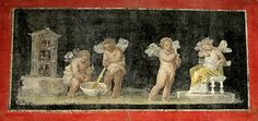 Amores mix perfume in a large bowl on a wall fresco. A Cupid holds out an alabastron containing perfume to Psyche, sitting and sniffing the perfume on her arm. Roman, 50-75 CE. Los Angeles, Getty Villa.