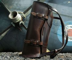 Aviation Luggage Parachuter Bag- made from bridle leather, which gets softer and achieves a patina with age
