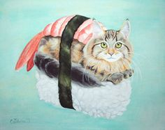 This giclée print is of the original 2013 Catshrine gouache painting, Cat Sushi and comes signed by us, the artists. Professionally printed on Epson Funny Cat Jokes, Funny Cats And Dogs, Funny Cat Videos, Funny Cat Pictures, Cat Sushi, Chat Web, Cat Christmas Cards, Cat And Dog Videos, Panda Art